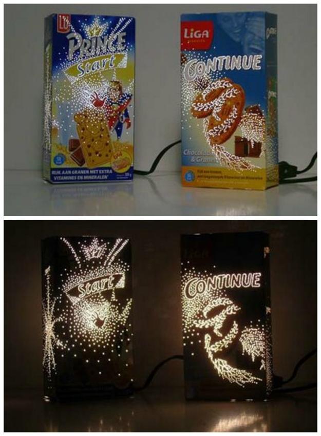 Luminária com pacote de cereal matinal