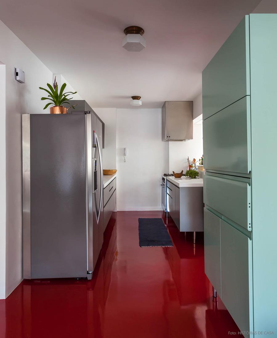 Porcelanato Liquido Resina Colorida Cozinha Moderna Piso Vermelho